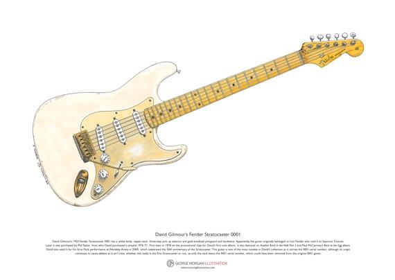 David Gilmour's Black Stratocaster Limited Edition Fine Art Print A3 size