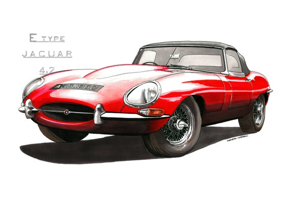 Jaguar E-Type Series 1 Fixed Head Coupe Greeting Card A5 size