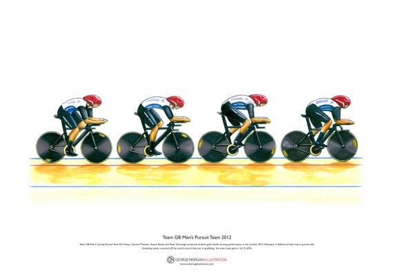 Keirin 2012 Olympics Sir Chris Hoy Limited Edition Fine Art Print A3 size