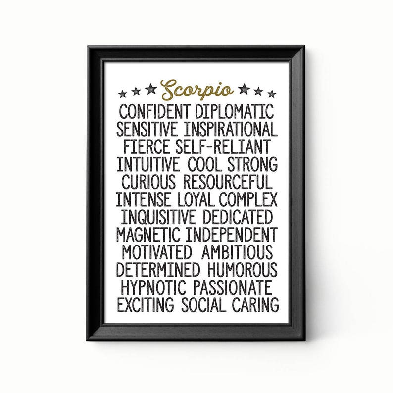 Scorpio Zodiac Print -- Astrology Traits -- Ready-to-Frame Fun Typography  Design Poster  Choose 8x10 or 11x14