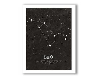 Leo Constellation Print 5x7, White on Black Design