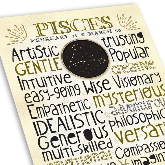 Pisces Traits Print • Astrology Typography Art -- Unique Zodiac Lettering  Design • Great Personalized Birthday or Engagement Gifts