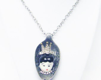 Antique Silver Plated Avec Amour Spoon w/ Porcelain Doll Rhinestone Pendant Necklace
