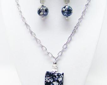 Black /White Splatter Media Bead Pendant Necklace & Earrings Set