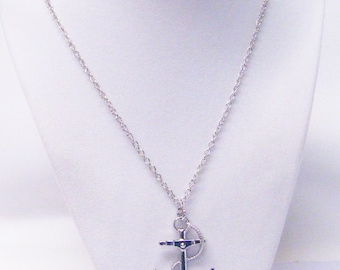 Silver Plated Anchor Pendant Necklace