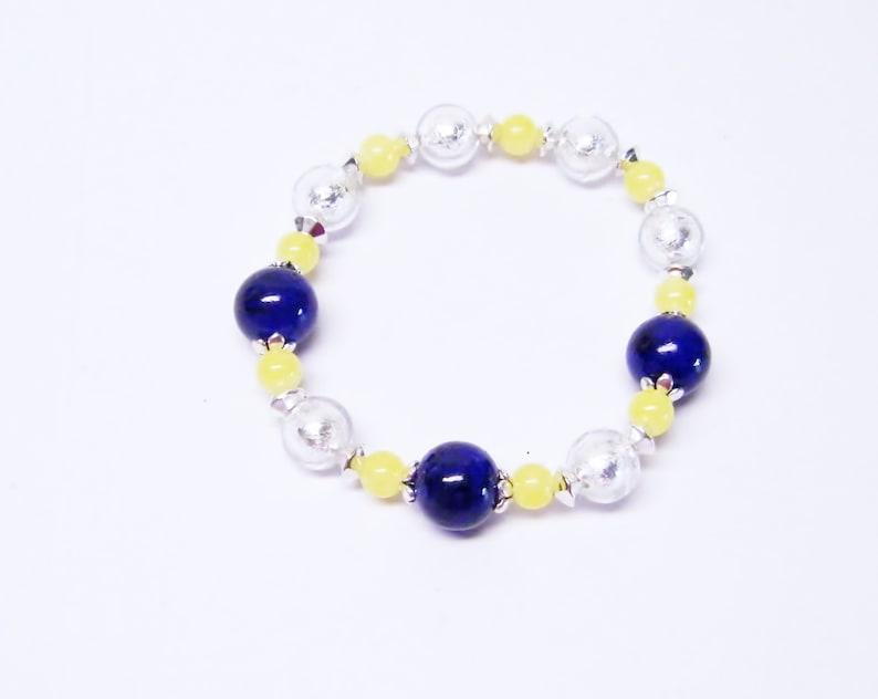 Cobalt BlueSilver Foil LinedYellow Glass Bead NecklaceBraceletEarrings Set