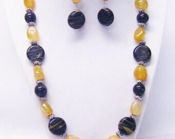 Amber Gemstone Nugget & Brown Swirl Glass Bead Necklace/Earrings Set