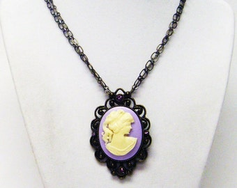 Purple Cameo on Antique Bronze Pendant Necklace