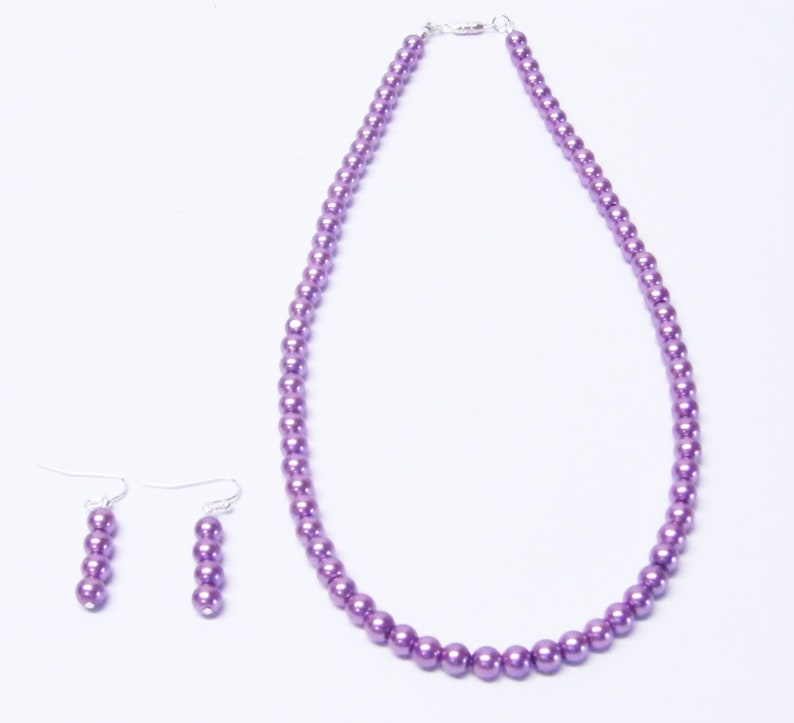 6mm Purple Glass Pearl Necklace and Earrings Set