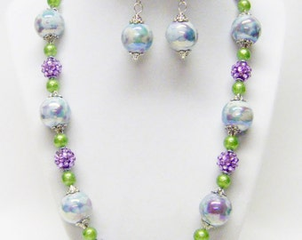 Round Iridescent Aqua/Purple Swirl Ceramic Bead Necklace/Earrings Set