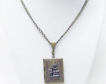 Antique Brass w/Castle Book Locket Pendant Necklace