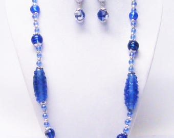 Mixed Blues Glass Bead Necklace & Earrings Set