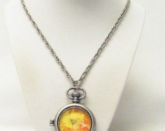 Antique Silver Tone Victorian Photo Locket/Pocket Watch Pendant Necklace