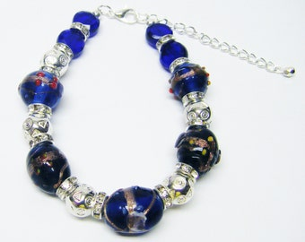 "Blue & Gold Sand Lamp Work Beaded Bracelet (8"", Silver Plated)"
