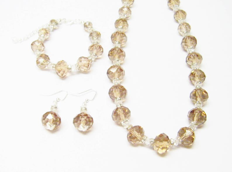 Smoky Topaz AB Crystal Rondelle Faceted Glass Bead NecklaceBraceletEarrings