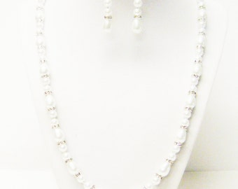 """23"""" White Teardrop & Round Glass Pearl Necklace and Earrings Set"""