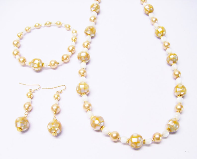 Golden Yellow Mosaic Shell Bead NecklaceBraceletEarrings Set