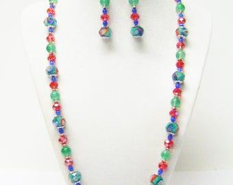Green Lamp Work Flower Faceted w/Green Glass Bead Necklace/Bracelet/Earrings