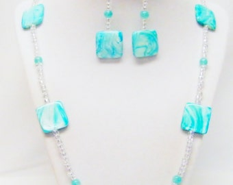 Aqua Swirl Rectangle Glass Bead Strand Necklace & Earrings