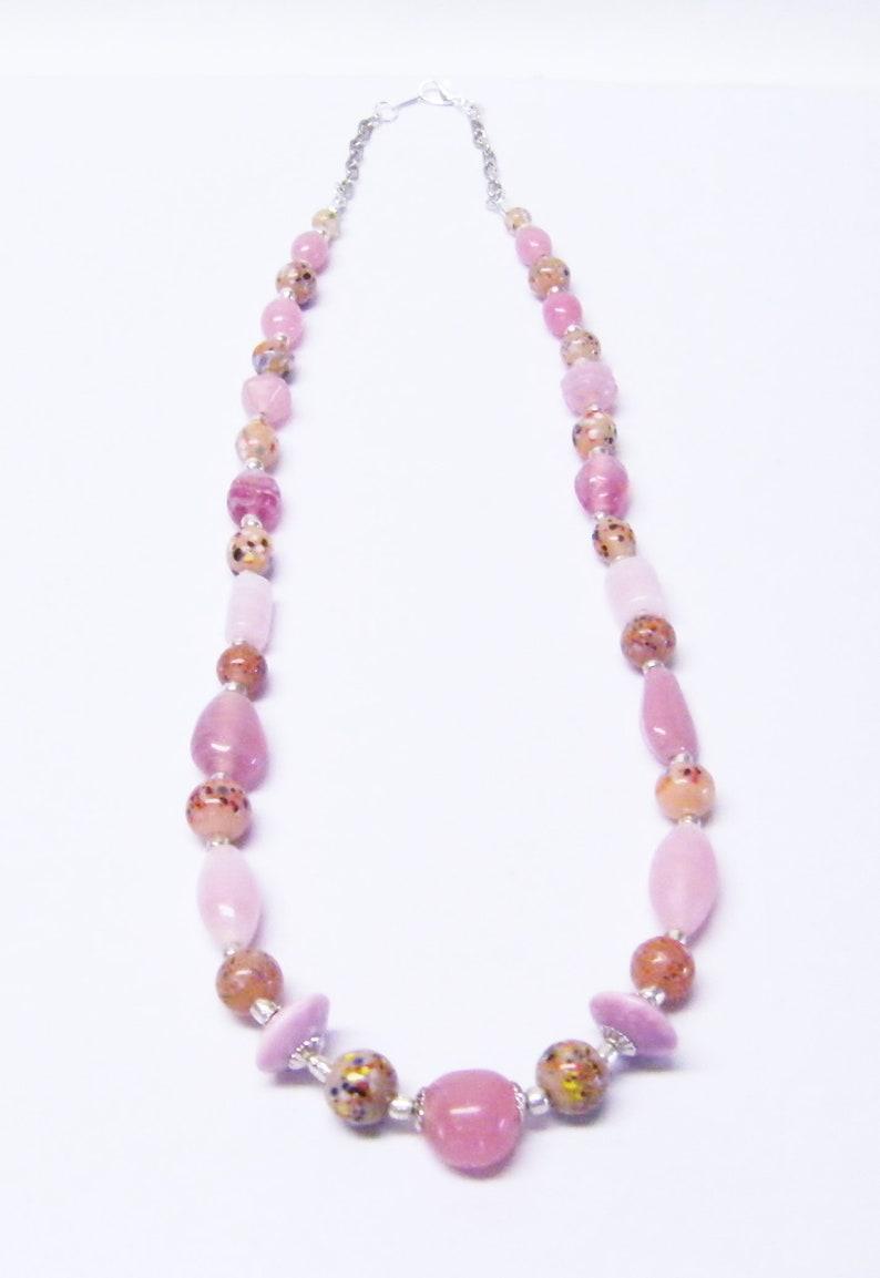 Assorted ShapeSizeColor Pink Foil LinedSpeckle Glass Bead NecklaceBraceletEarrings Set