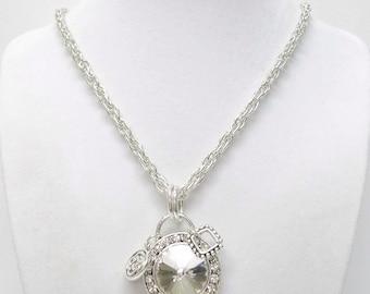 Large Rhinestone Drop on Silver Pendant Necklace