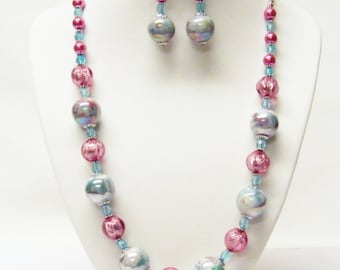 Aqua/Purple Swirl Ceramic w/Fuchsia Acrylic Bead Necklace/Earrings