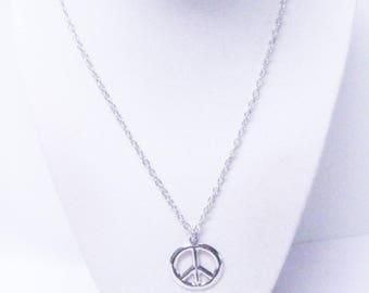 Silver Plated Peace Symbol Charm Necklace