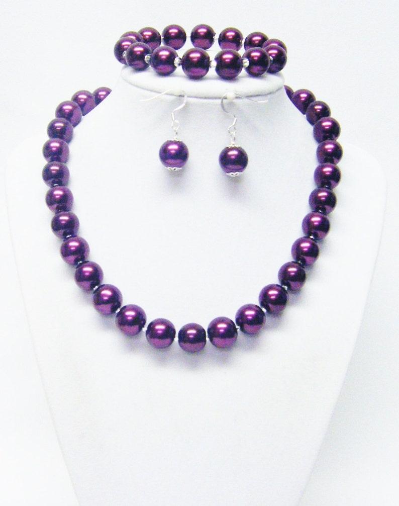 12mm Burgundy Glass Pearl wCrystal Seed Bead Choker NecklaceBracelet /& Earrings Set