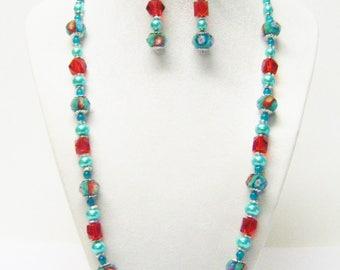 Green Lamp Work Flower w/Red Glass Faceted Bead Necklace/ Bracelet/Earrings