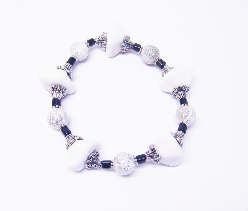 White Acrylic Chunks wSilver Sprinkle Bead NecklaceBraceletEarrings