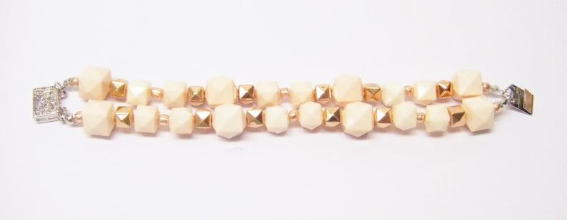 2 Strand Light Peach Geometric Faceted Resin Cube Bead NecklaceBraceletEarrings Set