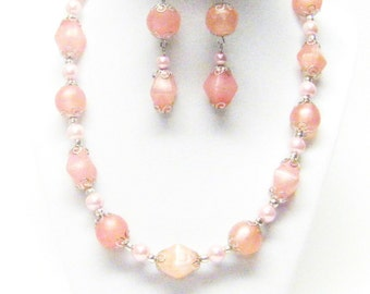 Chunky Matte Pink Acrylic Bead Necklace & Earrings Set