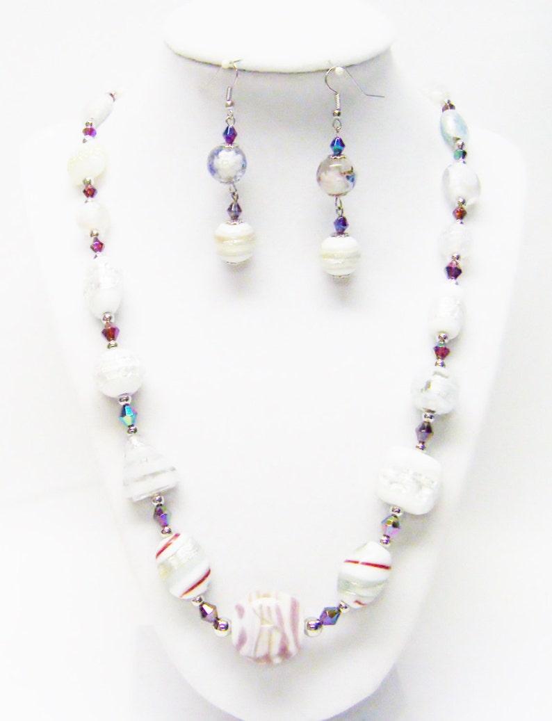 Mixed Lamp Work Glass Bead NecklaceEarrings Set