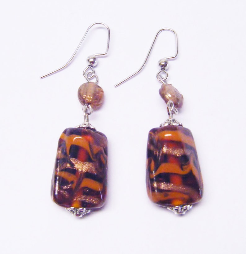 Assorted ShapesSizes Colorful Brown Foil Lined Glass Bead NecklaceBraceletEarrings
