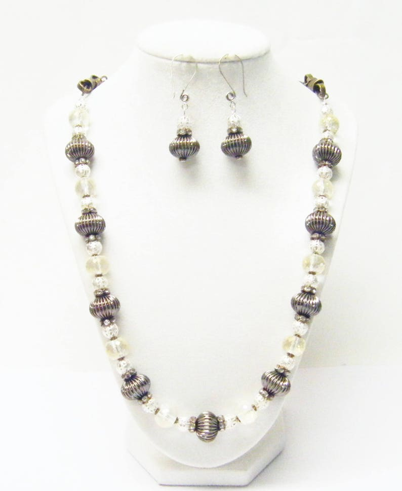 Bronze Corrugated wLarge Glass Faceted Rondelle Bead NecklaceEarrings