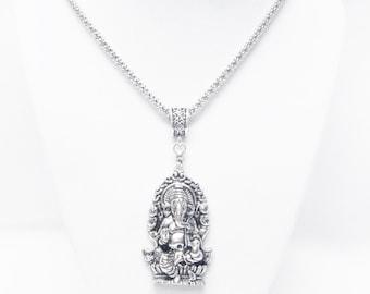 """Large Silver Plated Ganesh Ganesha Elephant Pendant Necklace  (21.5"""")"""