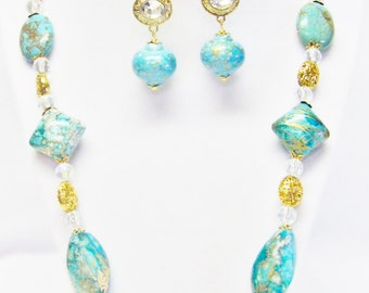 Chunky Mixed Pacifico Teal Acrylic w/Gold Plate Bead Necklace & Earrings
