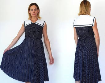 vintage navy sailor dress nautical dress womens sailor girl dress 70s 80s navy blue polka dot dress casual dress above knee pleated skirt M