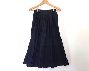 vintage 70s dark denim flare skirt midi skirt high waist denim skirt pleated denim skirt western boho skirt cowgirl 1970s jean skirt S