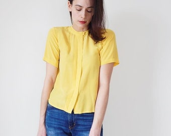 44872892ff18a Canary yellow blouse | Etsy