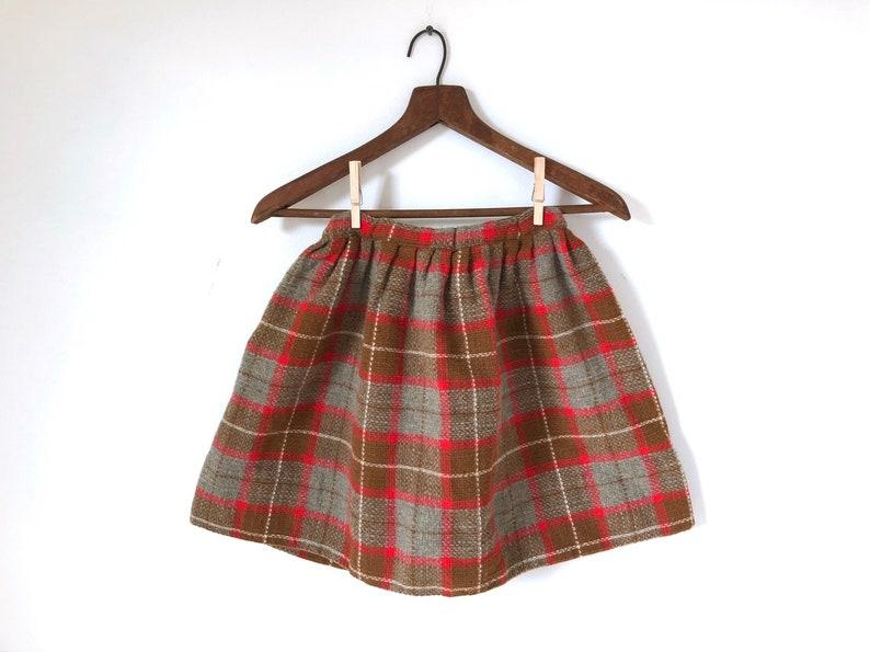a68d7267b54 Femmes vintage à carreaux laine mini jupe écolière jupe tartan