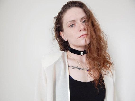 Pearl Pendant Black Velvet Choker Collar Necklace Vintage Retro Boho Statement
