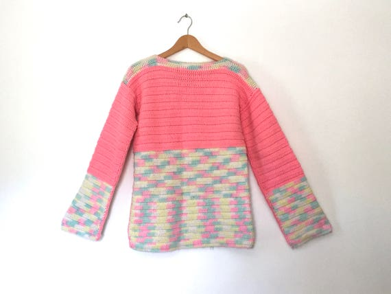 pastel rainbow sweater chunky sweater bell sleeve