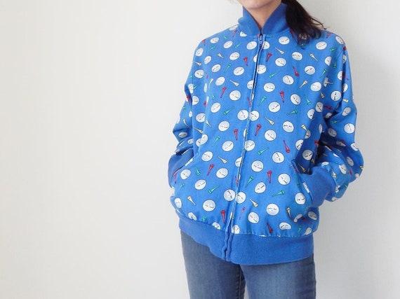 vintage golf jacket novelty print bomber jacket 80