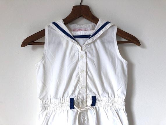 vintage girls nautical romper easter dress jumper