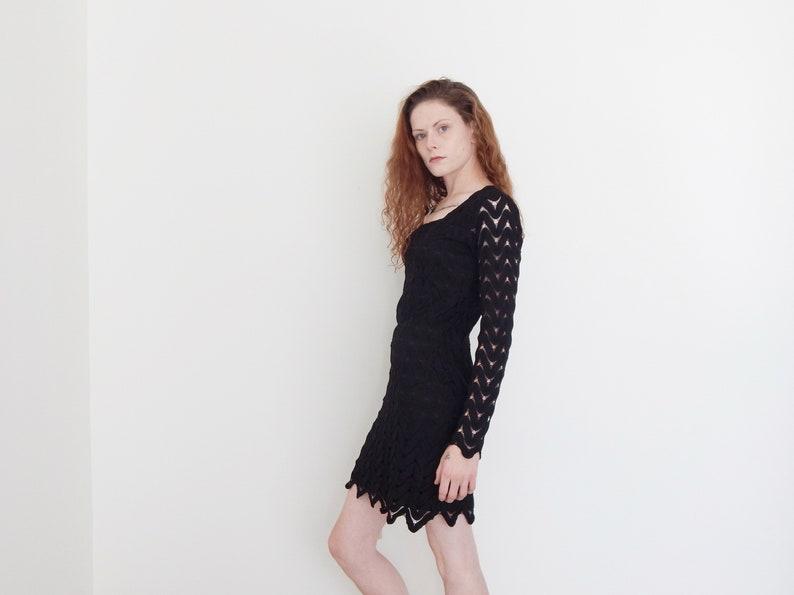78d613502ce0 Vintage 70 black lace flare sleeve halloween dress little