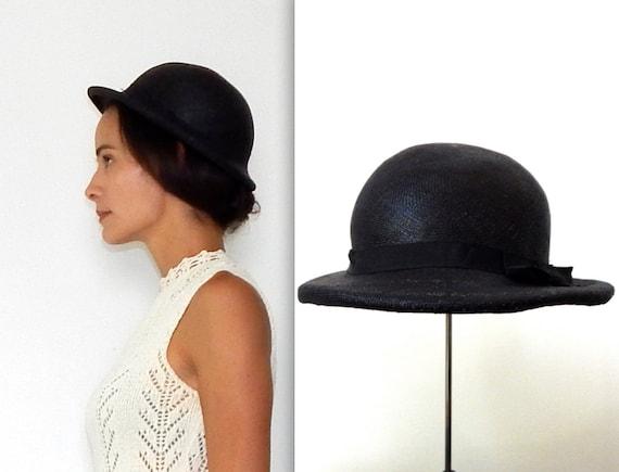 black straw hat 30s black hat vintage black hat bo