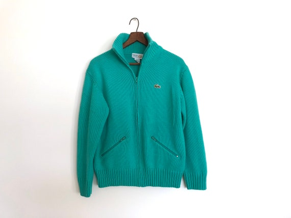 729ad1b6aa vintage turquoise sweater 70s lacoste sweater full zip up