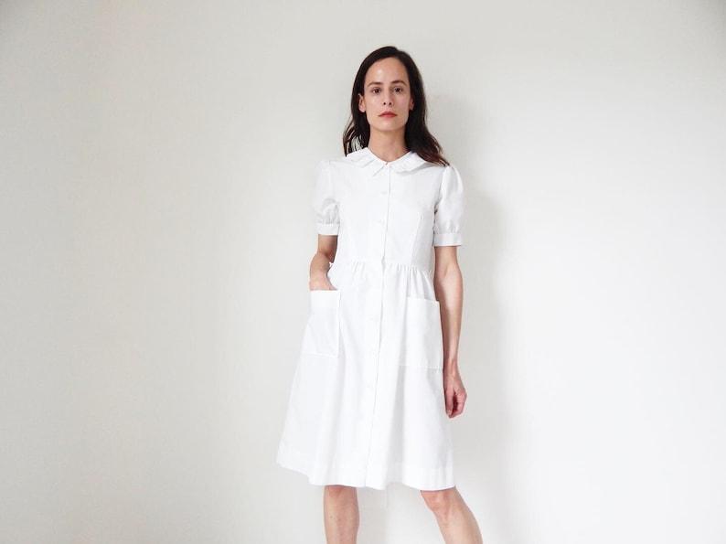 452ad1f370b84 Vintage nurse uniform retro white dress with big ruffle collar   Etsy