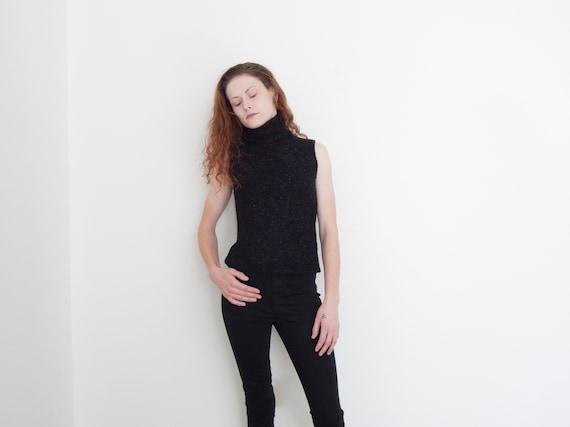 90s sparkly black sleeveless turtleneck sweater ta